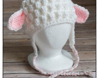 Crochet Lamb Hat, Cap, Beanie, Easter hat, hatimal, animal hat