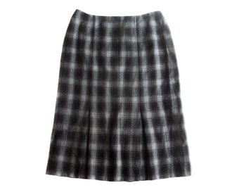 Vintage Seda Modell by Severin Daners ® women skirt checked 100% pure new wool size 42