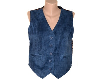Vintage women vest real leather suede blue