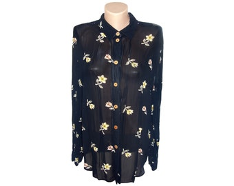 Vintage women shirt top blouse black flowers floral
