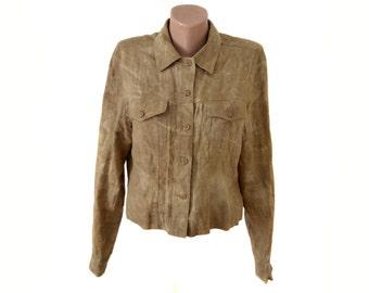 Vintage beige women shirts blazer 100% linen