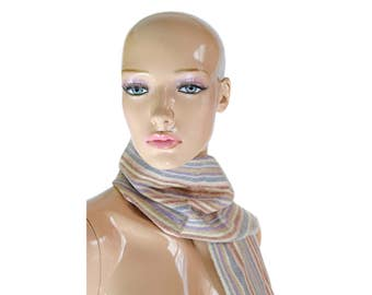 Vintage Brentwood women scarf striped pure new wool