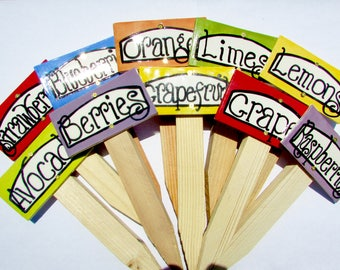10 PRODUCE GROUP D Ceramic Garden Tags, signs, labels, plaques, markers,
