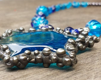 Stunning Blue Glass Star Beaded Necklace by Indigo Mood Unique One-Off