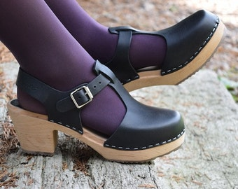 Swedish Clogs Highwood T-Bar Black Leather by Lotta from Stockholm / Wooden Clogs / Sandals / High Heel / Mary Jane Shoes