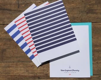 Nautical Blank Cards, Nautical Stripes Set of 6 Blank Cards