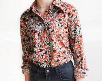 Vintage Blouse /70s Button Up Pattern Blouse / Vintage 70s Women's Patterned Blouse / Retro Collared Blouse / Women's Vintage Clothing /