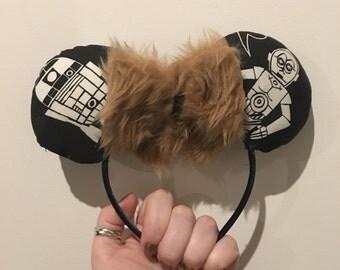 Star Wars Disney Mickey Mouse Ears. C3P0 R2D2 Chewbacca fur