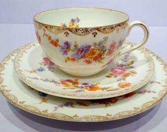 SALE ITEM DRESDEN trio Vintage German Porcelain  Dresden Style Decoration Floral and Gold