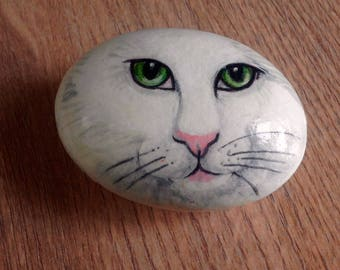White cat hand painted pebble paperweight/ornament