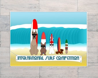 Surf Competition, Bulldog, Dachshund, Great Dane, Chihuahua, Surf Art, Whimsical, Comical, Printable, Instant Download, Digital Download,