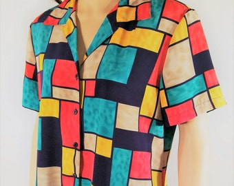 Vintage 80's Women's Short Sleeve Colorful Geo ColorBlock Top Shirt Blouse by NOTATIONS Size L Petite