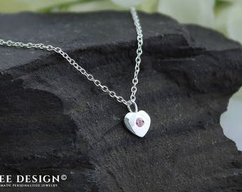 Sterling Silver - Swarovski crystal - Heart Necklace - Anniversary gift for girlfriend - Love necklace - Anniversary necklace - Pink crystal
