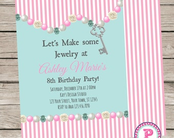 Jewelry Making Party Invitation Front Back Pink Stripes Birthday Gems Beads Pearls Aqua Blue DIGITAL FILE ONLY