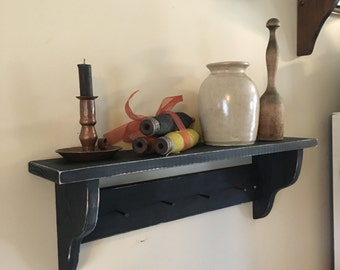 Handmade/ Wood Craft/Shaker Shelf/distressed shelf /pegs/ black rustic shelf