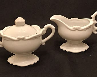 "Vintage Sculpted Footed Cream and Sugar ""Exclusive Renaldy's Fine China Japan"" c.1960 with Original Stickers"