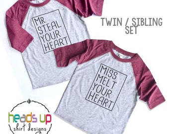 Toddler/Baby Twin Valentine's Day Shirts Raglan - Twin Boy/Girl Mr. Steal Your Heart/Miss Melt Your Heart tshirts - Trendy Twin - Kids -