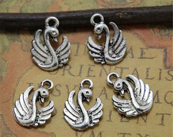 35pcs  Swan charms Pendants double sided silver tone 17 x 13mm ASD0068