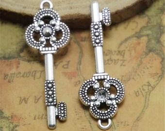 10pcs Key Charms Silver TONE Skeleton keys Pendants/Charms 15x43mm ASD0384