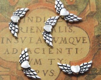 20pcs Heart Angel Wing Beads silver Tone 22 x 8 mm ASD1156