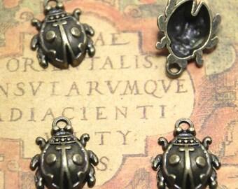 12pcs Ladybug Charms bronze tone Ladybird Pendants/Charms, Lady Beetle,17x22mm asd1455