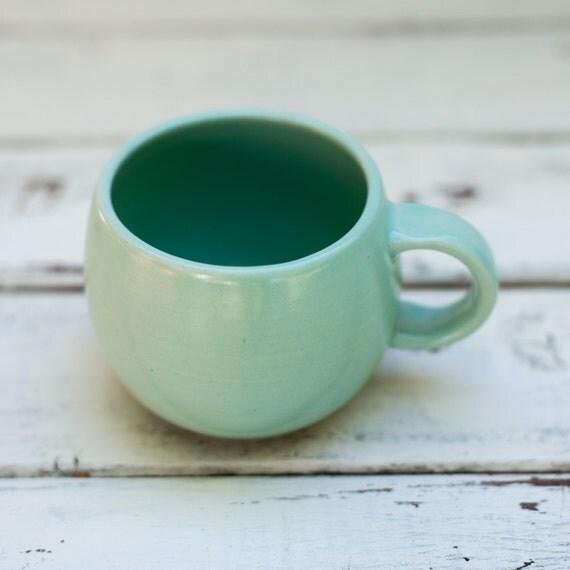 Handmade Ceramic Rounded Egg Shaped Mug in Green Ready to Ship