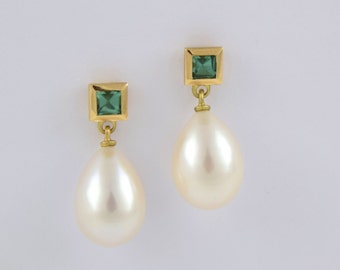 UNIQUE tourmaline earrings 750/yellow gold with pearls