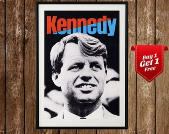 Robert Kennedy Poster - Bobby Kennedy Memorablia, Kennedy Painting, Kennedy Poster, Democratic Party, Politics, Vote Democratic, Kennedy