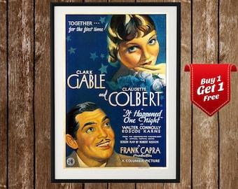 It Happened One Night Movie Poster - Clark Gable, Frank Capra, Claudette Colbert, Classic Film, Old Hollywood, Clasic Cinema, 1930s Art