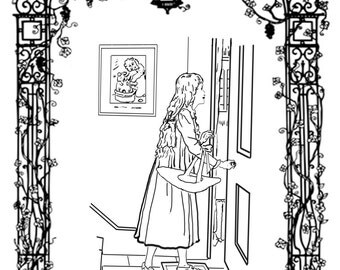 Girl At Door-A Hand Drawn Vintage Coloring Page