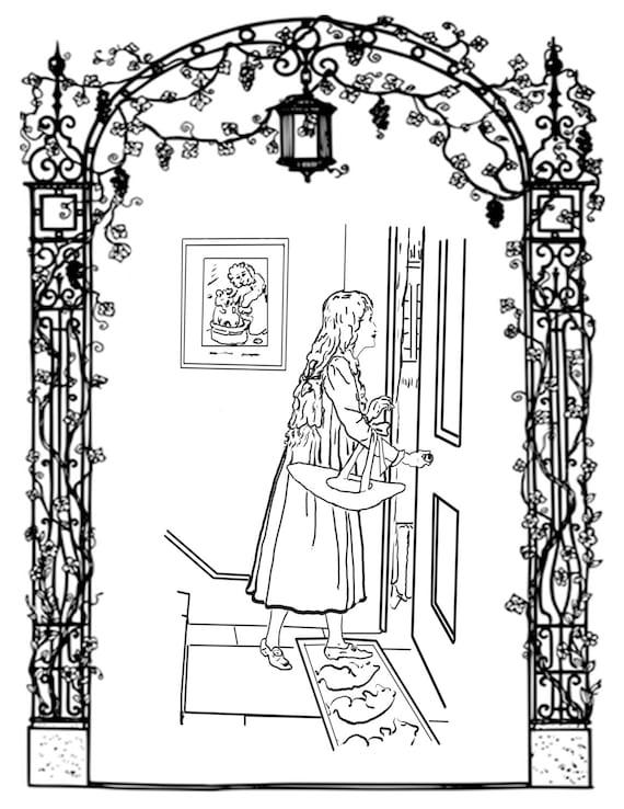 Vintage Hand Held Mirror Sketch Coloring Page