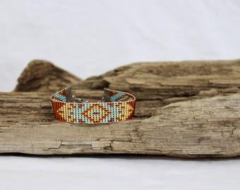 Bracelet , cuff of beads Miyuki 11/0, native and bohemian style