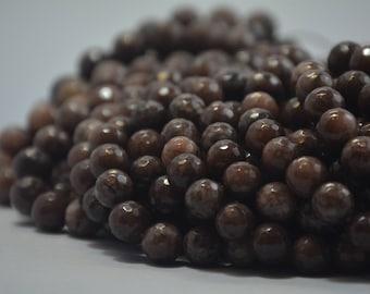 10 mm faceted brown jade gemstone