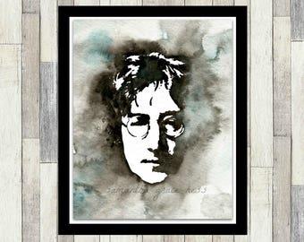 The Beatles, John Lennon, Original Watercolour Print, Gift Idea, Wall Art, The Beatles Decor, Pop Art