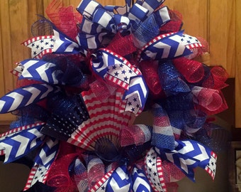 America/ 4th of July Deco Mesh Wreath