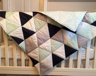 Mint & Grey Geometrical Wholecolth Quilt