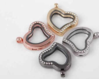 5pcs 4 Colors Floating Locket for Magnetic Glass Living Memory Charms Heart Locket Pendant Charms Necklace/Bracelet Accessories Jewelry