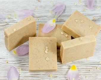 Oatmeal & Buttermilk Soap, Unscented Body Soap, Natural Soap, Shea Butter Soap, Sensitive Skin Soap, Exfoliator, Palm Free, Handmade Soap