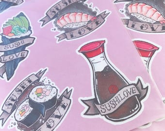 I love sushi sticker set