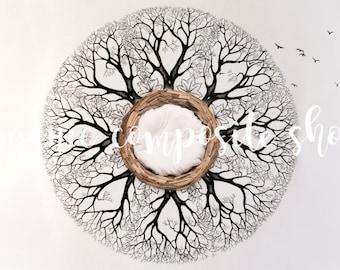 Digital Prop/Backdrop {Organic Nest with Tree of Life Birds}