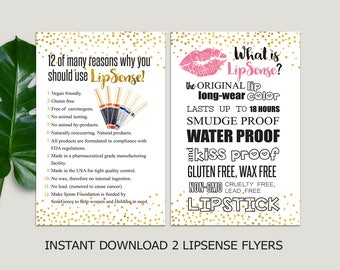 LipSense Flyer, What is LipSense, LipSense Party Pack, Why You Should Use Lipsense SeneGence, 2 Flyers, pink, gold confetti INSTANT DOWNLOAD