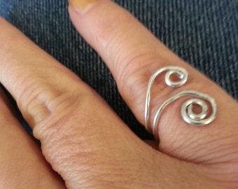 Silver Swirls Ring Adjustable