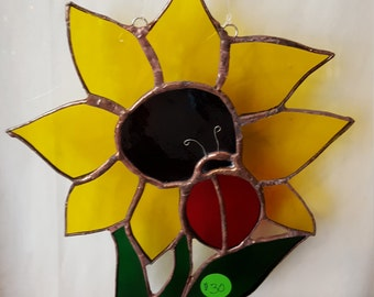 Sunflower with ladybug stained glass