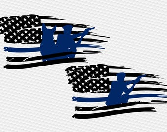 Thin blue line police usa flag svg Clipart Cut Files Silhouette Cameo for Cricut and Vinyl File cutting Digital cuts file DXF Png Pdf Eps