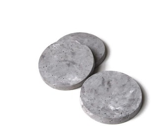 Batch of 2, 4 or 6 raw concrete grey coasters - LE DISCOBOLE