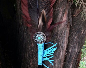 """Feather Smudge Fan, Prayer Fan w/turquoise accents, leather fringe, turkey and pheasant feathers OOAK Balance/Harmony 17""""x5"""""""