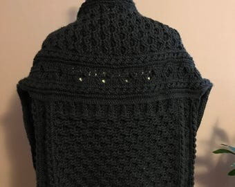 Crochet cabled sweater shawl