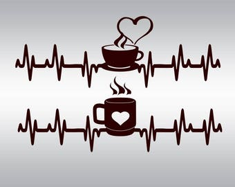 Heartbeat Strip coffee SVG Clipart Cut Files Silhouette Cameo Svg for Cricut and Vinyl File cutting Digital cuts file DXF Png Pdf Eps