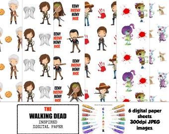The Walking Dead Inspired digital paper.