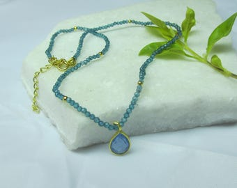 Blue Topaz necklace,blue color necklace,pendant necklace choker necklace ,beaded necklace,gemstone necklace, short necklace,